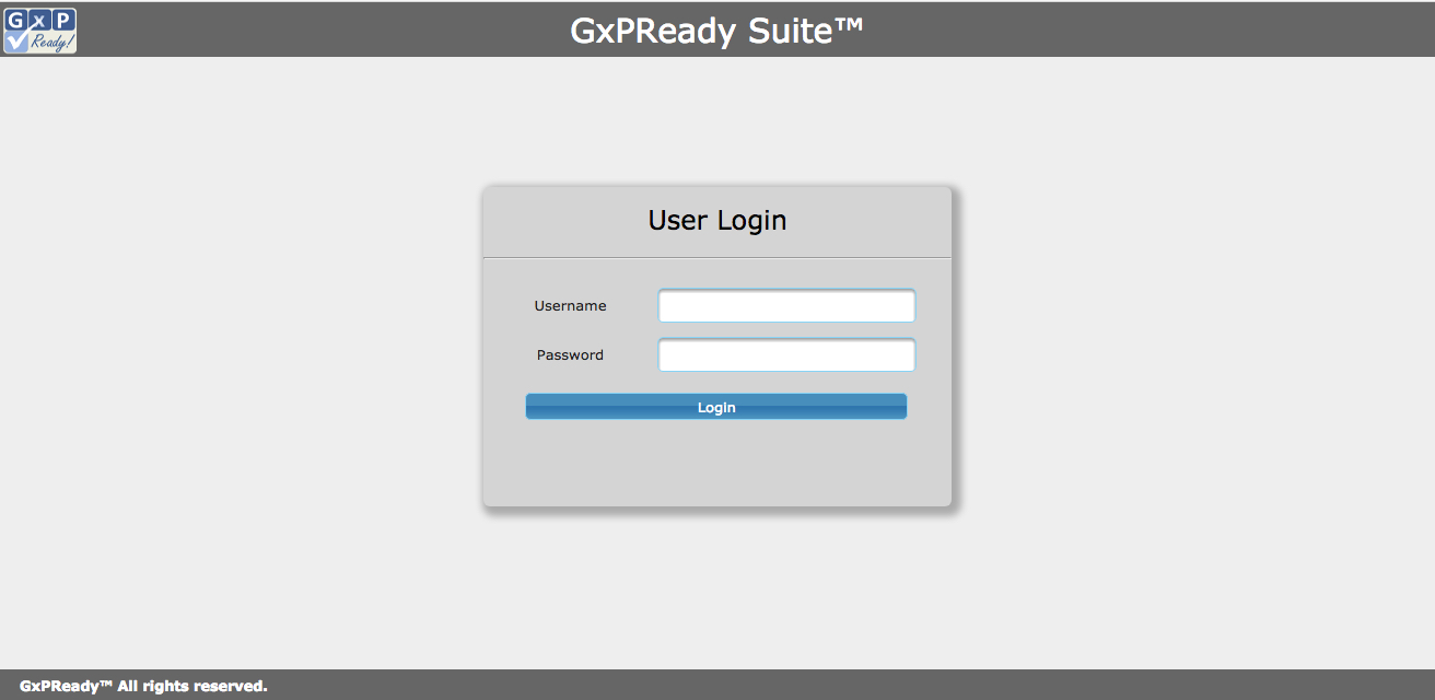 GxPReady! Suite clean user interface.